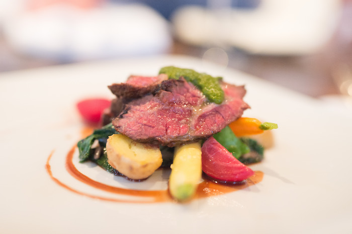 Hanger Steak, Grilled with Duxelles Vegetables